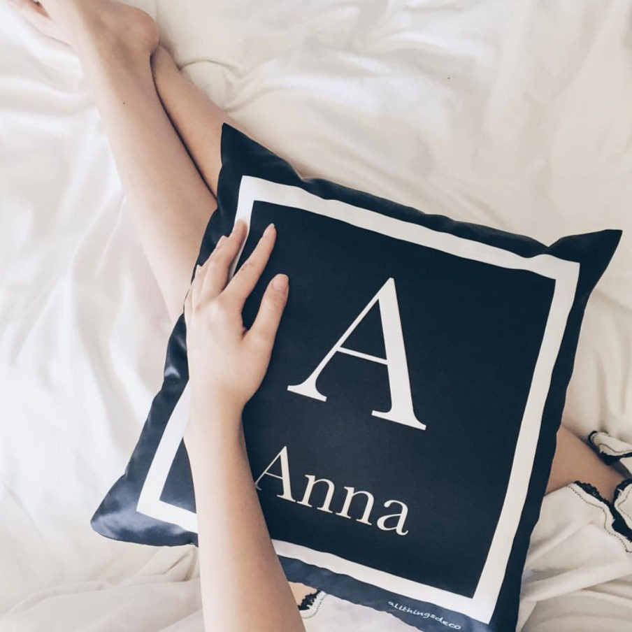 black monogram cushion by atd