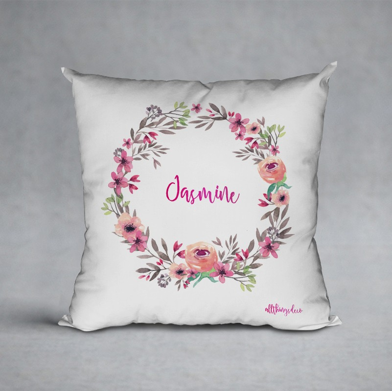 white floral pillow