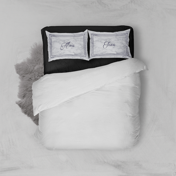 white marble pillowcase set