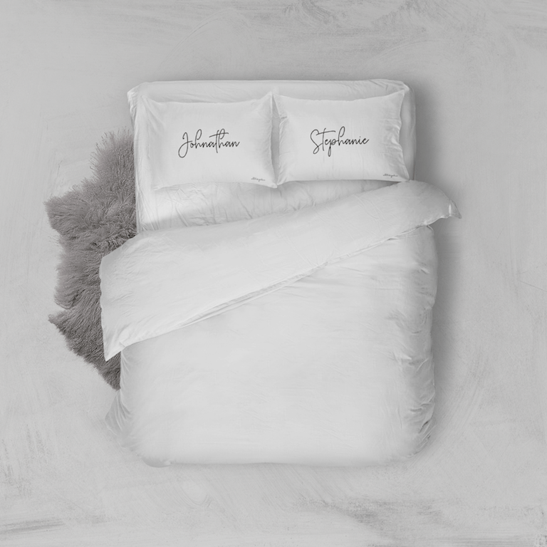 White Personalised Mon Amour Pillowcase Set