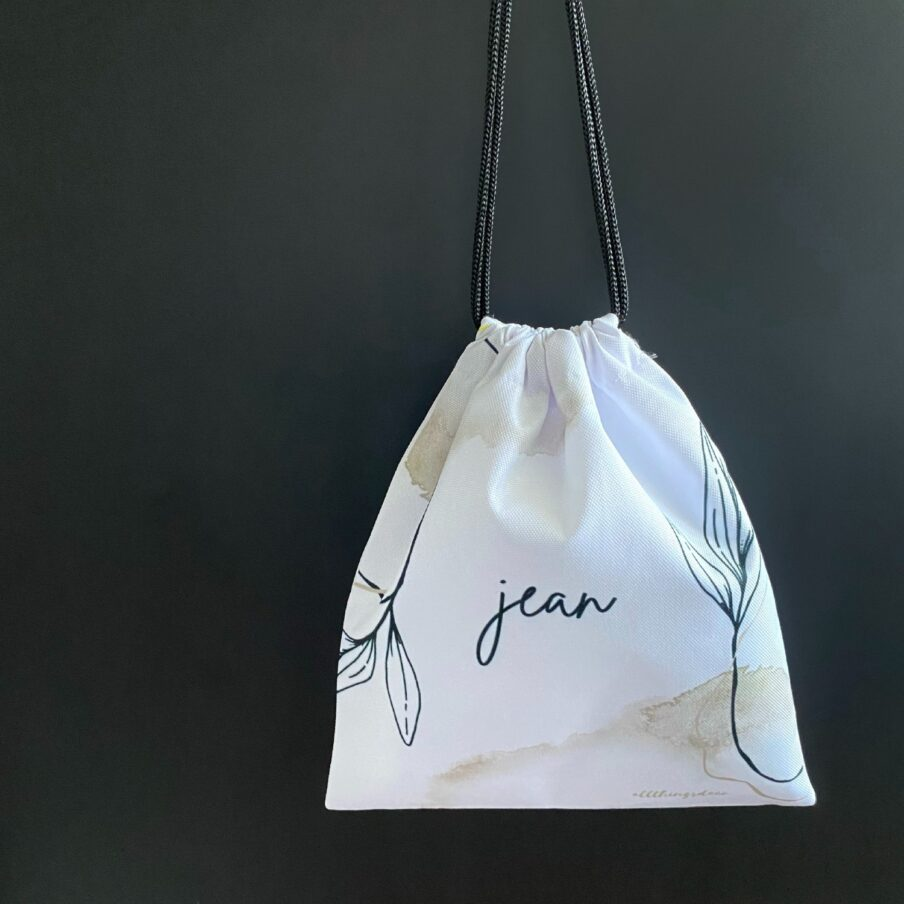 new beginnings pouch in white